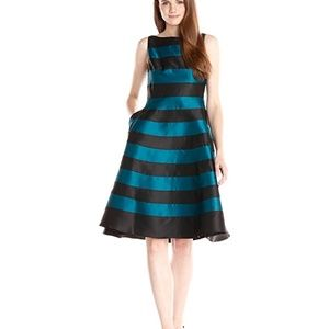 Adrianna Papell Black Teal Striped Dress Size 10